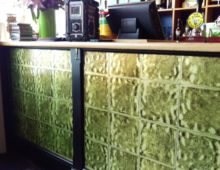 Wallpapered bar front in Cheltenham