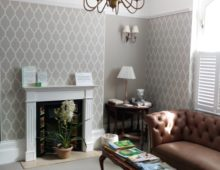 Wallpapered reception hallway Cheltenham