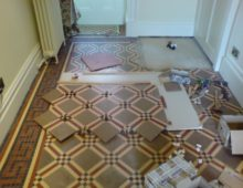 Victorian Mosaic Tiled Floor restored resealed and re polished.