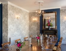 Sanderson Wallpaper Cheltenham function room.