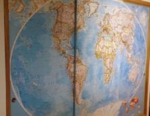 World map sliding pantry doors